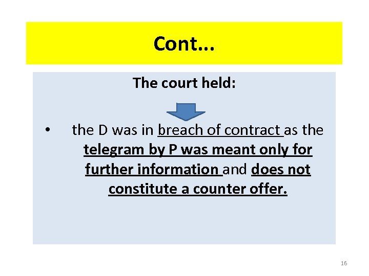 Cont. . . The court held: • the D was in breach of contract
