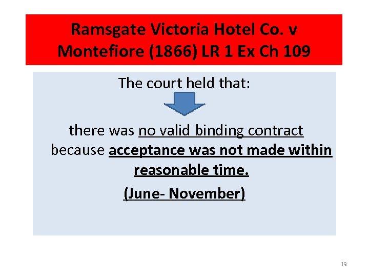 Ramsgate Victoria Hotel Co. v Montefiore (1866) LR 1 Ex Ch 109 The court