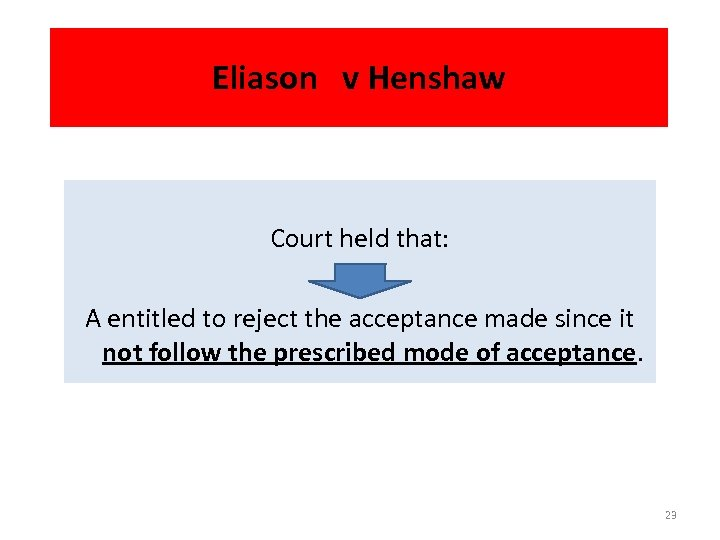 Eliason v Henshaw Court held that: A entitled to reject the acceptance made since