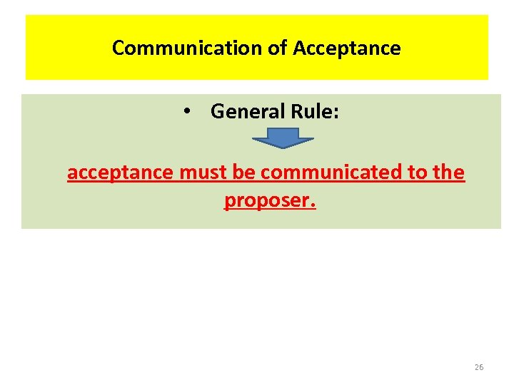Communication of Acceptance • General Rule: acceptance must be communicated to the proposer. 26