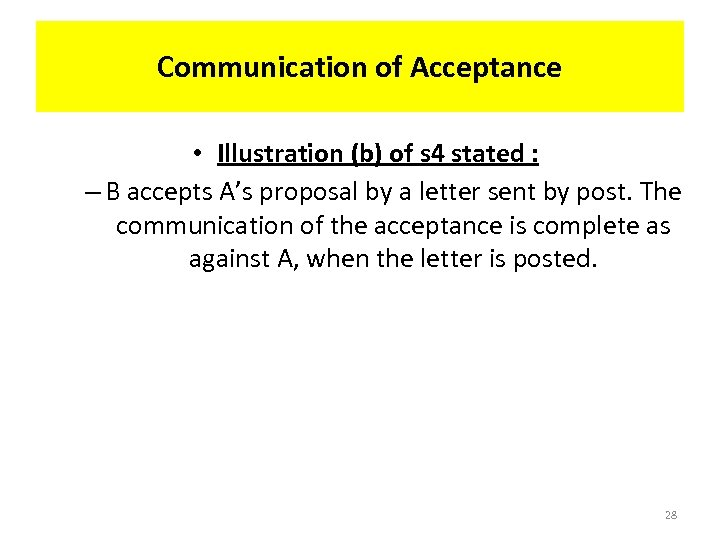 Communication of Acceptance • Illustration (b) of s 4 stated : – B accepts