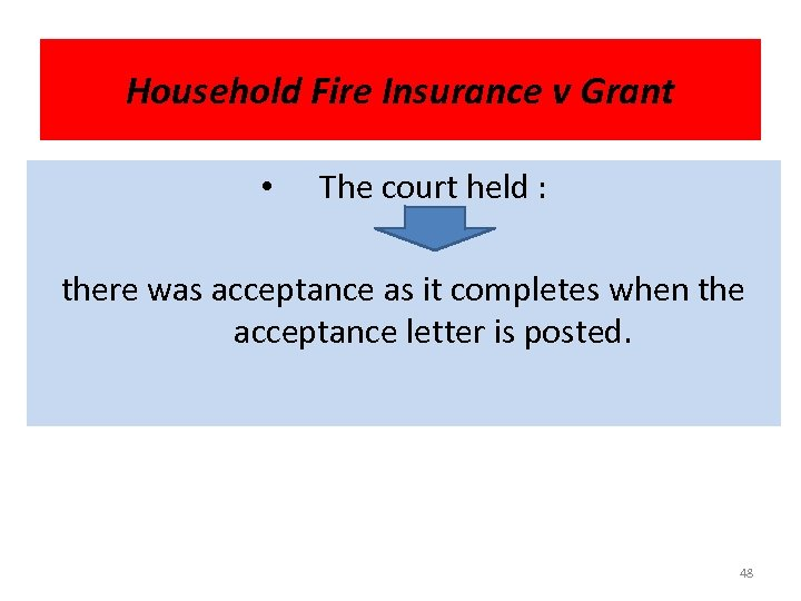 Household Fire Insurance v Grant • The court held : there was acceptance as
