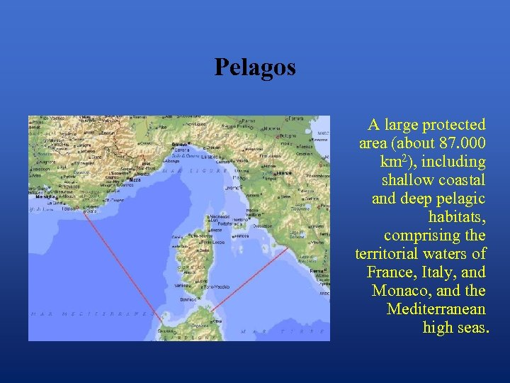 Pelagos A large protected area (about 87. 000 km 2), including shallow coastal and