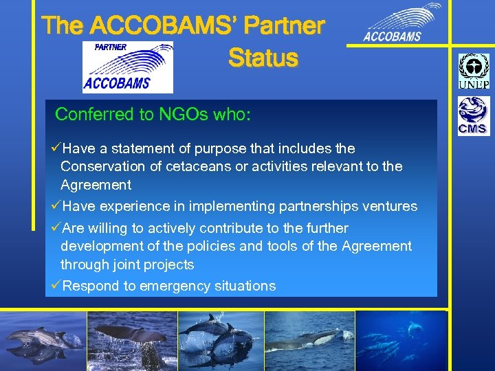 The ACCOBAMS' Partner Status Conferred to NGOs who: üHave a statement of purpose that