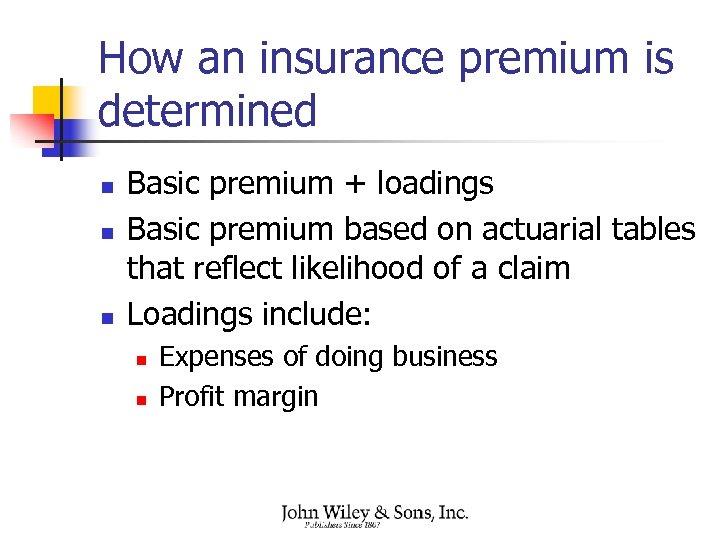 How an insurance premium is determined n n n Basic premium + loadings Basic