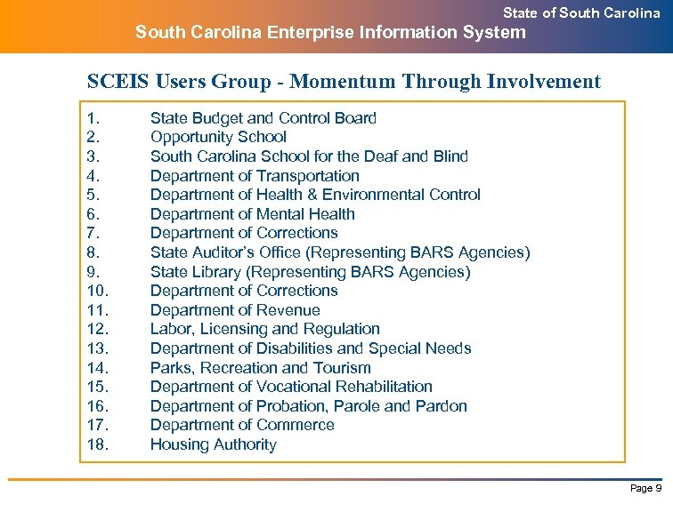 State of South Carolina Enterprise Information System SCEIS Users Group - Momentum Through Involvement