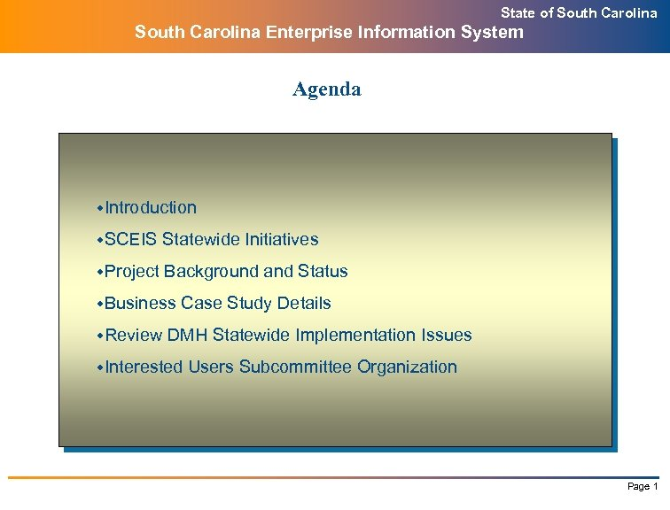 State of South Carolina Enterprise Information System Agenda w. Introduction w. SCEIS Statewide Initiatives