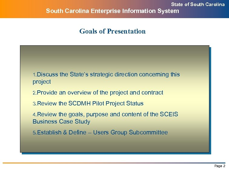 State of South Carolina Enterprise Information System Goals of Presentation 1. Discuss the State's