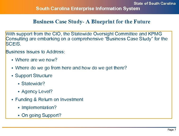 State of South Carolina Enterprise Information System Business Case Study- A Blueprint for the