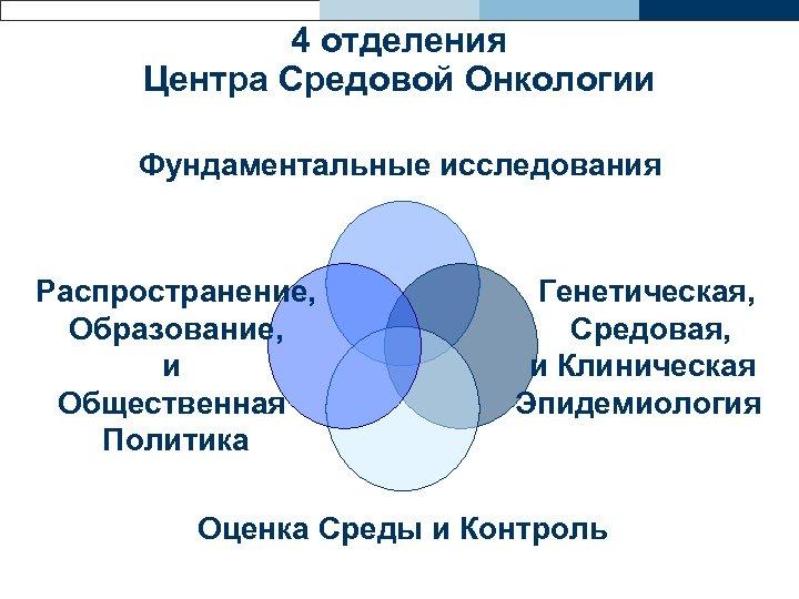4 отделения Центра Средовой Онкологии Фундаментальные исследования Распространение, Образование, и Общественная Политика Генетическая, Средовая,