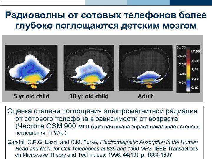 Радиоволны от сотовых телефонов более глубоко поглощаются детским мозгом Оценка степени поглощения электромагнитной радиации