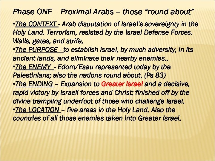 "Phase ONE Proximal Arabs – those ""round about"" • The CONTEXT - Arab disputation"