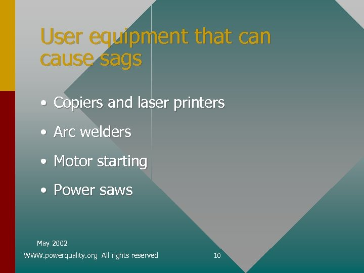 User equipment that can cause sags • Copiers and laser printers • Arc welders