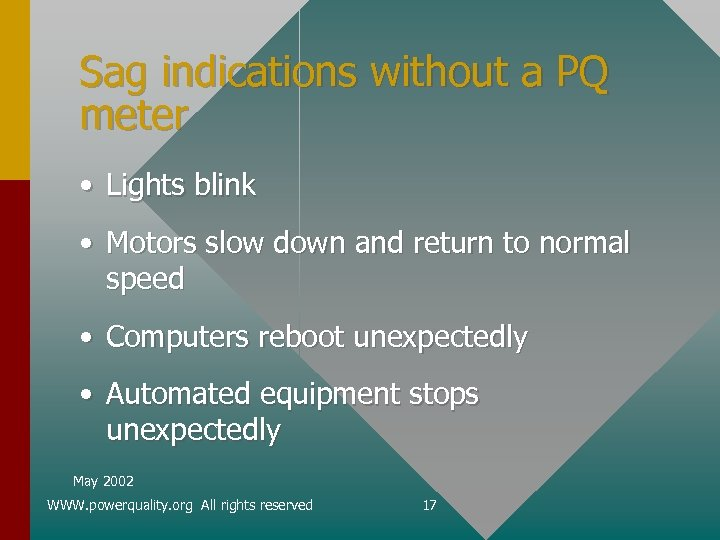 Sag indications without a PQ meter • Lights blink • Motors slow down and