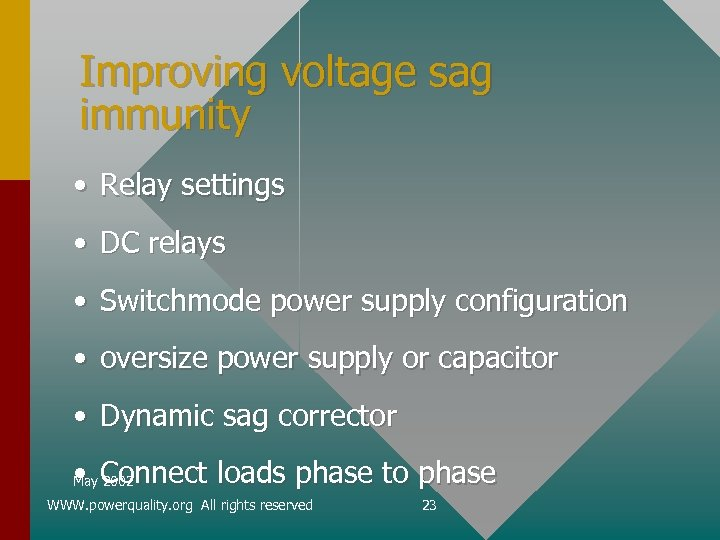 Improving voltage sag immunity • Relay settings • DC relays • Switchmode power supply