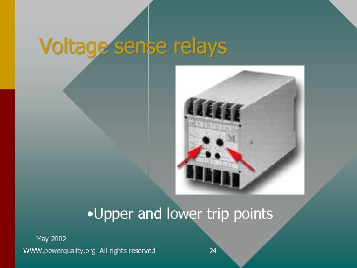 Voltage sense relays • Upper and lower trip points May 2002 WWW. powerquality. org