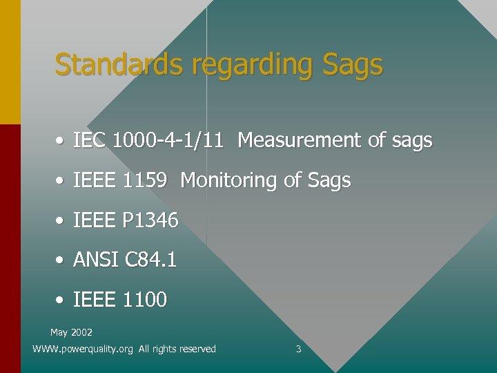 Standards regarding Sags • IEC 1000 -4 -1/11 Measurement of sags • IEEE 1159