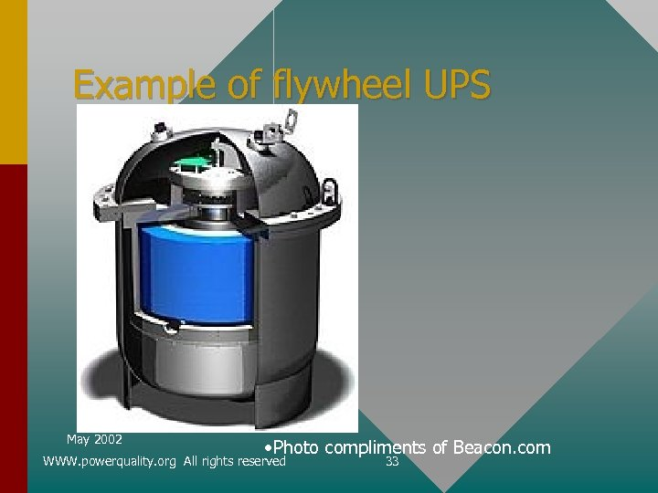 Example of flywheel UPS May 2002 • Photo compliments of Beacon. com WWW. powerquality.