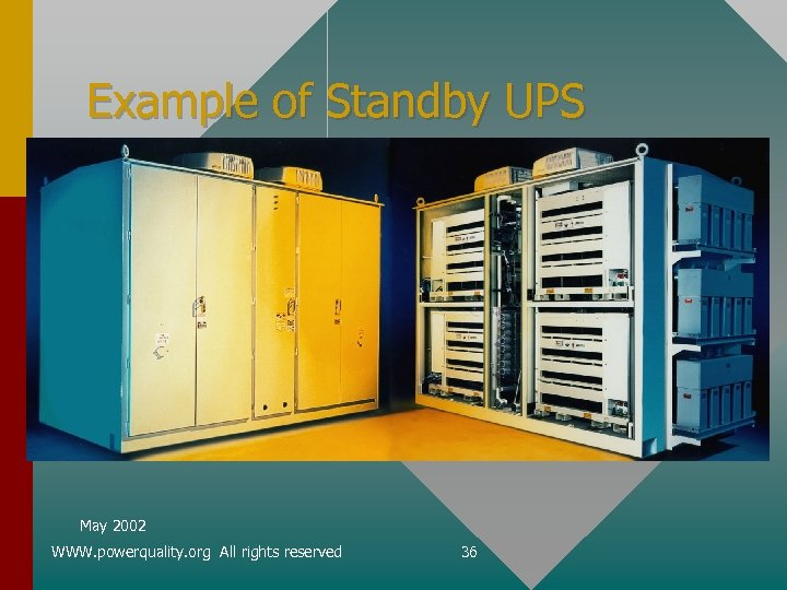 Example of Standby UPS May 2002 WWW. powerquality. org All rights reserved 36
