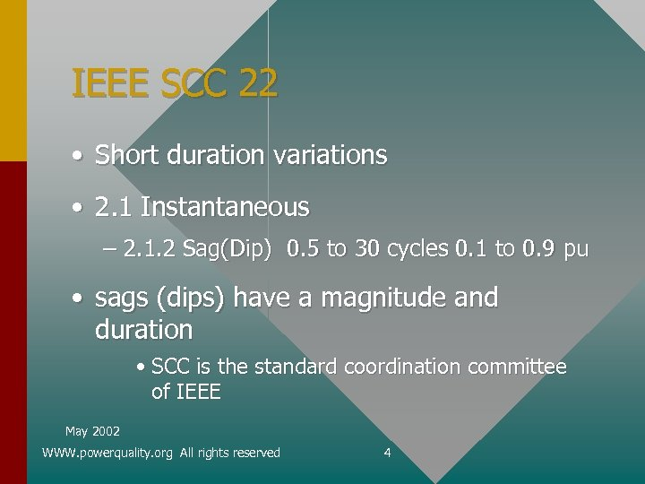 IEEE SCC 22 • Short duration variations • 2. 1 Instantaneous – 2. 1.