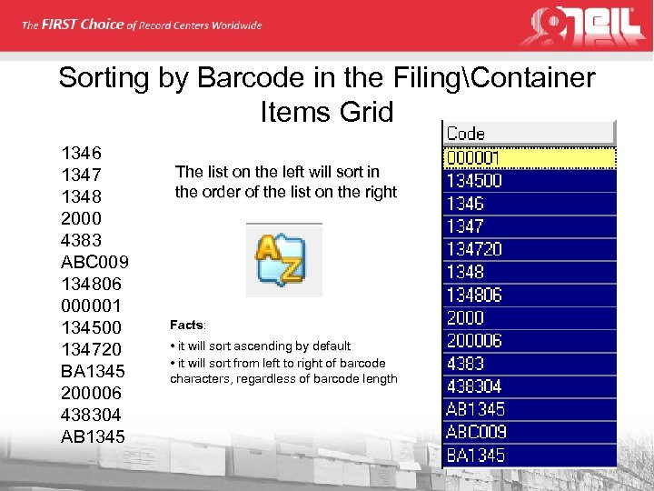 Sorting by Barcode in the FilingContainer Items Grid 1346 1347 1348 2000 4383 ABC