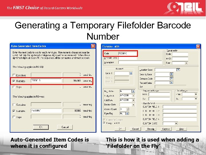 Generating a Temporary Filefolder Barcode Number Auto-Generated Item Codes is where it is configured