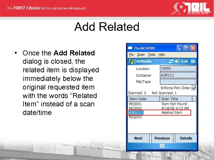 Add Related • Once the Add Related dialog is closed, the related item is