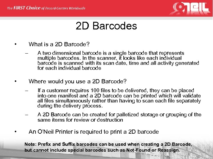 2 D Barcodes • What is a 2 D Barcode? – • A two