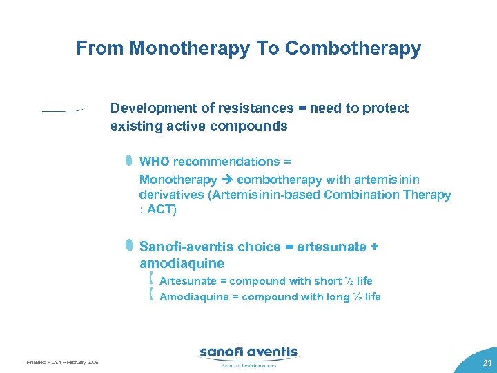 From Monotherapy To Combotherapy Development of resistances = need to protect existing active compounds