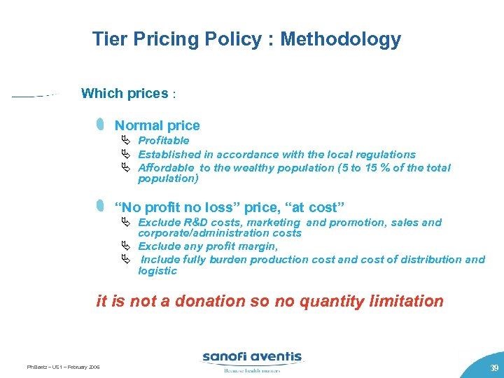 Tier Pricing Policy : Methodology Which prices : Normal price Ä Profitable Ä Established