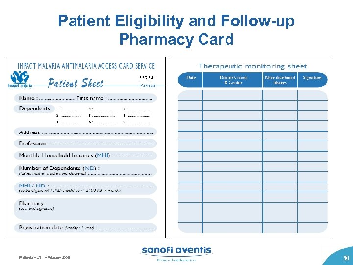Patient Eligibility and Follow-up Pharmacy Card 22734 25 784 Ph Baetz – US 1