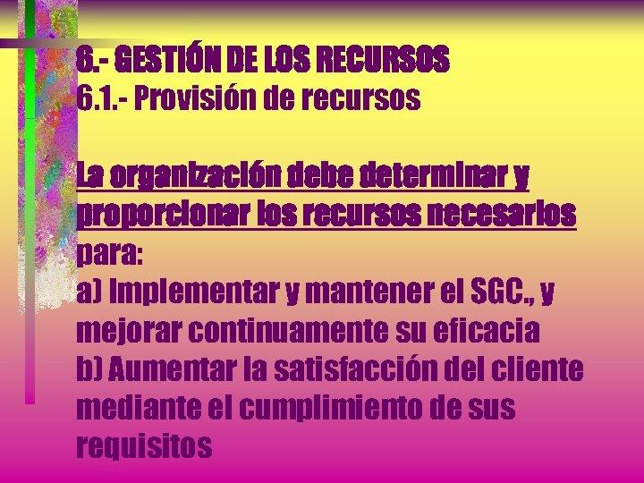 6. - GESTIÓN DE LOS RECURSOS 6. 1. - Provisión de recursos La organización
