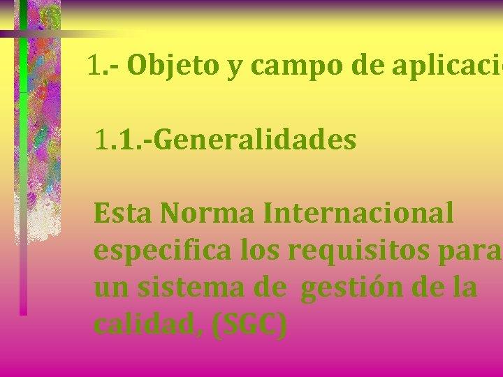 1. - Objeto y campo de aplicació 1. 1. -Generalidades Esta Norma Internacional especifica
