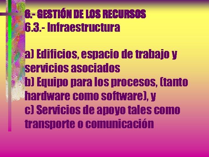 6. - GESTIÓN DE LOS RECURSOS 6. 3. - Infraestructura a) Edificios, espacio de