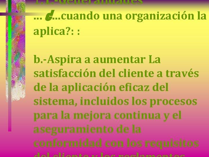 1. 1. -Generalidades. . . ¿. . . cuando una organización la aplica? :
