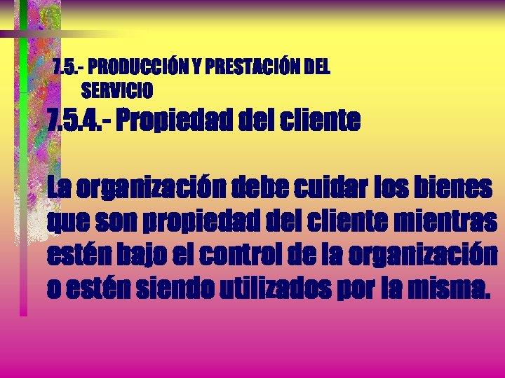 7. 5. - PRODUCCIÓN Y PRESTACIÓN DEL SERVICIO 7. 5. 4. - Propiedad del