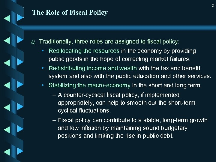 2 The Role of Fiscal Policy b Traditionally, three roles are assigned to fiscal
