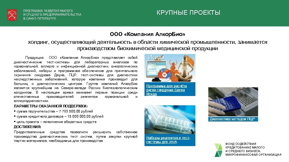 КРУПНЫЕ ПРОЕКТЫ ООО «Компания Алкор. Био» холдинг, осуществляющий деятельность в области химической промышленности, занимается