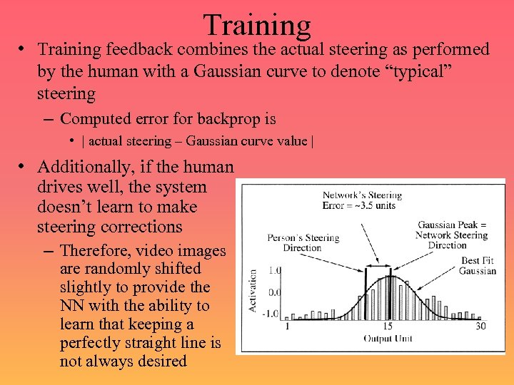 Training • Training feedback combines the actual steering as performed by the human with