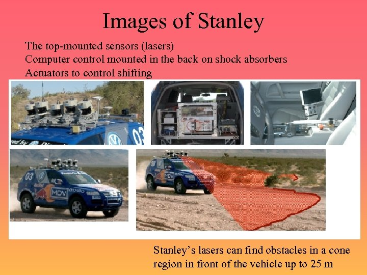 Images of Stanley The top-mounted sensors (lasers) Computer control mounted in the back on