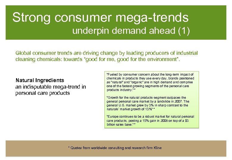 Strong consumer mega-trends underpin demand ahead (1) Global consumer trends are driving change by