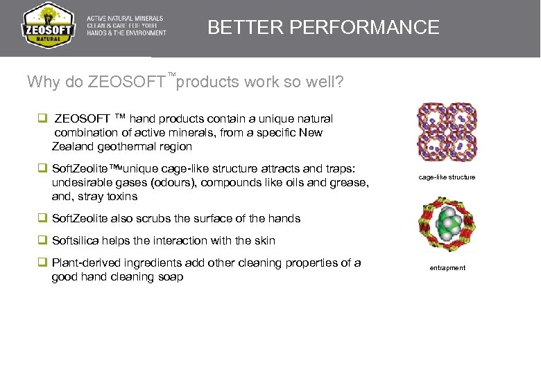 BETTER PERFORMANCE TM Why do ZEOSOFT products work so well? TM q ZEOSOFT ™