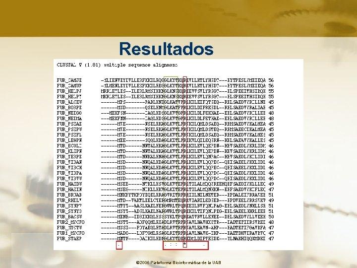 Resultados © 2006 Plataforma Bioinformàtica de la UAB
