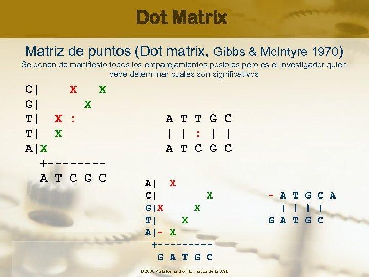 Dot Matrix Matriz de puntos (Dot matrix, Gibbs & Mc. Intyre 1970) Se ponen