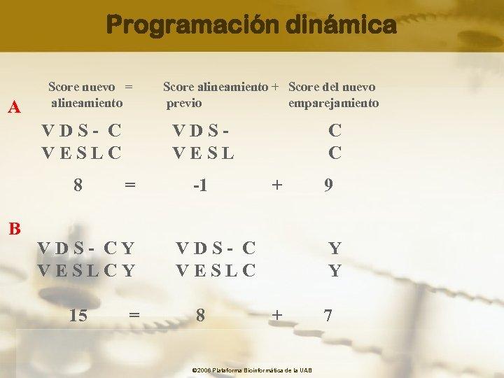 Programación dinámica A Score nuevo = alineamiento VDS- C VESLC 8 B VDSVESL =