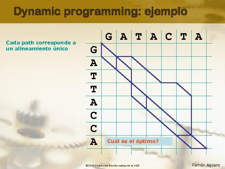 Dynamic programming: ejemplo Cada path corresponde a un alineamiento único G A T A