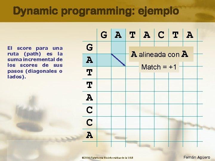 Dynamic programming: ejemplo G A T A C T A El score para una