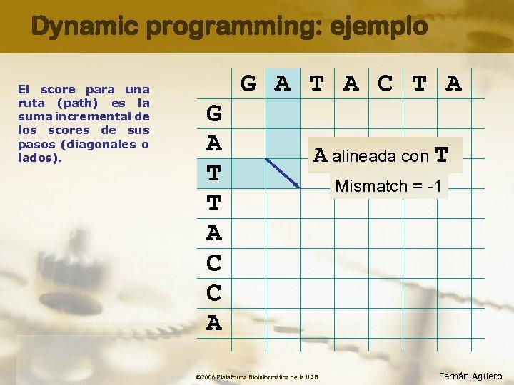 Dynamic programming: ejemplo El score para una ruta (path) es la suma incremental de