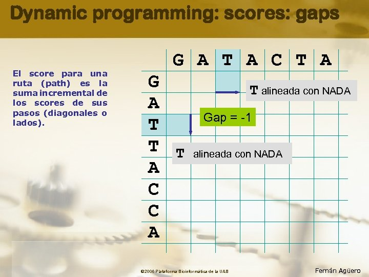 Dynamic programming: scores: gaps El score para una ruta (path) es la suma incremental