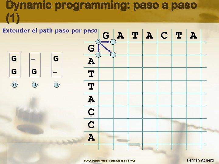 Dynamic programming: paso a paso (1) Extender el path paso por paso G –